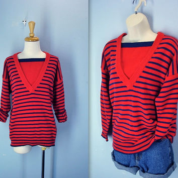 vintage 80s slouchy sweater . red navy striped nautical . sailor sweater