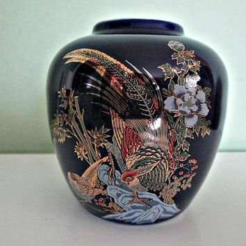 Japanese Cobalt Blue Porcelain Vase, Pheasants and Floral Design, Hand Decorated