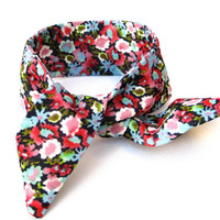 Floral Wired Hair Accessory for Buns or Pony Tails Multicolored Bun Top Knot Tie Wrist Wrap Pink Blue Green White Cute Girls Teen Women Gift