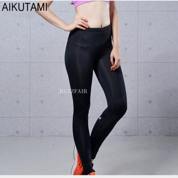 Reflective Compression Running Tights Women Quick Dry Elastic with Hidden Pocket Gym Leggings Sport Fitness Workout Training