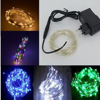 9 Colors 10M 33Ft 100 Led Silver Wire LED String Light Starry Lights Christmas Wedding Festival Decoration + Power Adapter