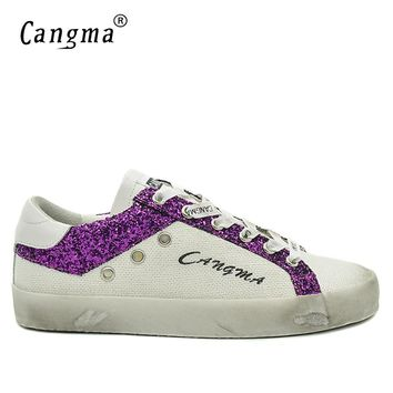 CANGMA Fashion Sneakers Men Shoes British Casual Shoes Canvas Breathable Hemp Sequined Leather Male White Shoes Plus Size 2017
