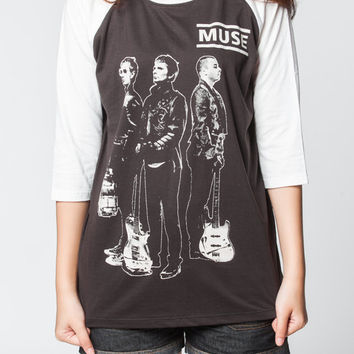 Muse Tshirt Baseball Matthew Bellamy Rock Long Sleeved Women Black Shirts Unisex Tee T Shirt T-Shirt Size S , M , L , XL