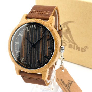 Unique Vogue Mens Quartz Watches Wooden Outdoor Sport Watches Clock With Leather Strap Relojes Hombre