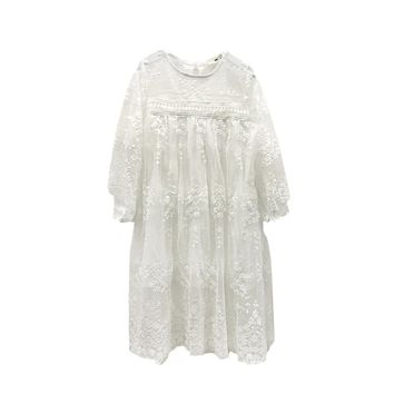 Kids Children Junior's Long Sleeves Dress Lovely Cute Lace Dance Sundress for Party Wedding