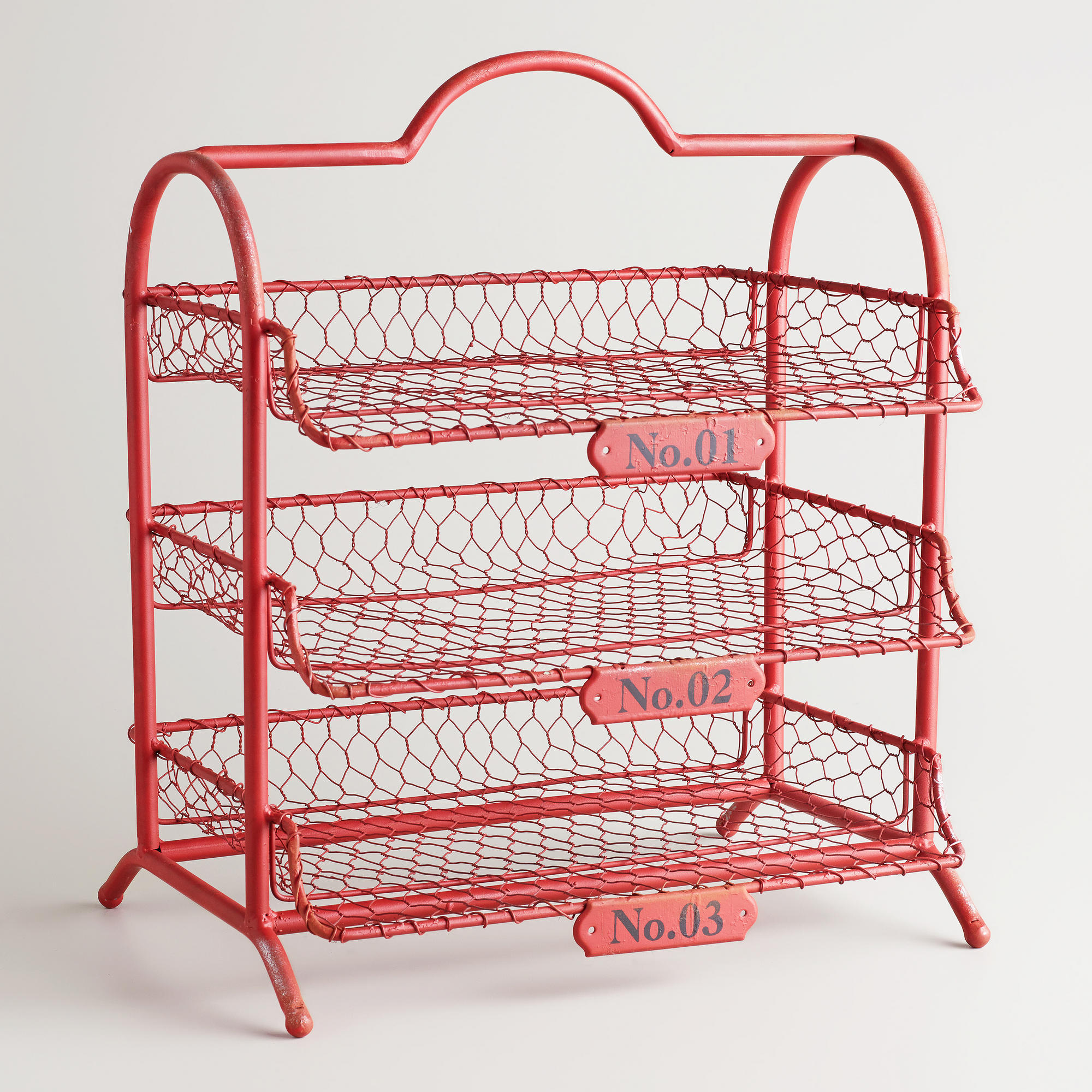 Red Austin 3-Tier Wire Tray