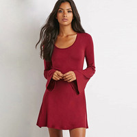 Scoop Neck Horn Sleeves A-Line Dress