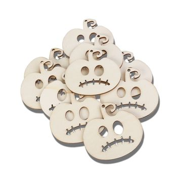 10pcs Wooden Embellishments Halloween Decoration Sad Expression Pumpkin Head Pattern Pendant with Hemp Ropes
