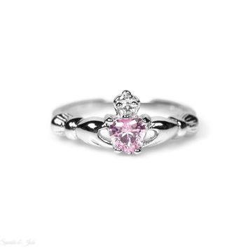 Sterling Silver Children's Small Light Pink (October) CZ Heart Claddagh Ring