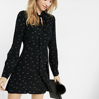 micro floral print tie neck long sleeve fit and flare dress