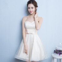 New fashion champagne bridesmaid dress short evening dress