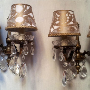 Pair of Vintage Italian Crystal Brass 2 Arm Wall Sconces with Gold Rubelli Fabric Clip On Lamp Shades - Handmade in Italy