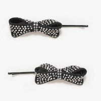 Rhinestoned Bow Hair Pin Set