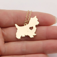 1pcs Cute Westie Necklace Pendant Puppy Heart Dog Lover Memorial Pet Necklaces & Pendants Women Animal Charms Christmas Gift