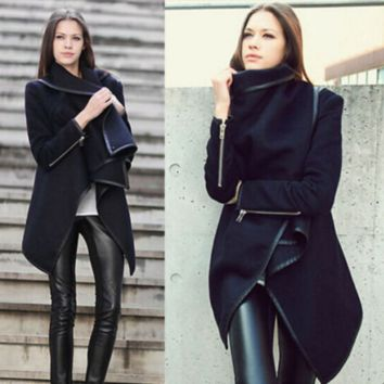 Black Long-Sleeve Asymmetrical Woolen Coat