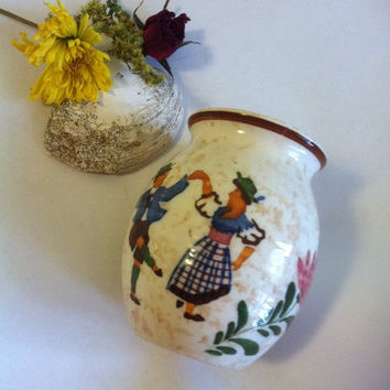 German Folk Dancer Vase Alpine Peasant Ware Ceramic Stoneware Hand Painted Vintage Mid Century Traditional Floral Vase With Couple Dancing