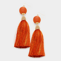 Orange & Gold Thread Wrapped Ball Tassel Earrings