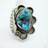 Sterling Turquoise Ring, Native American Jewelry, Sterling Silver Ring, Old Turquoise Jewelry, Bohemian Gypsy, Size 6