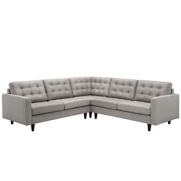 Empress 3 Piece Fabric Sectional Sofa Set in Light Gray