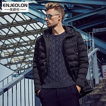 Enjeolon Brand Cotton Padded Hooded Jacket Men,windproof Parka Men Clothing,Thick Quilted black Hoodies Coat male WT0226