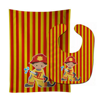 Fireman Boy Baby Bib & Burp Cloth BB6995STBU