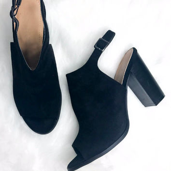 Stop And Stare Black Suede Open Toe Booties