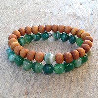 Strength and Protection,  sandalwood and green sardonyx mala bracelet set