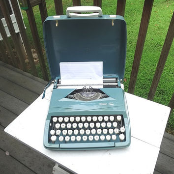 1960s Sears Roebuck Tutor Blue Manual Typewriter with Case, Working Condition & Ribbon, Made in England, Vintage Office Typewriter, Portable