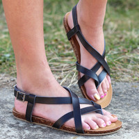 Lesly Strappy Sandals {Black}