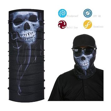 Polyester Microfiber Seamless Tube Ghost Pattern Face Shield Multifunctional skull Bandana
