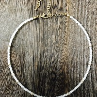 Glass Bead Choker Necklace- White