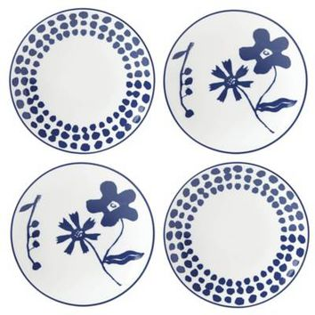 kate spade new york Spring Street™ Cobalt Tidbit Plates (Set of 4)