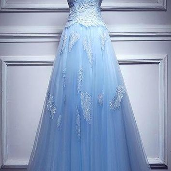 Blue Tulle With Appliques Evening Dress Strapless Evening Dresses Long