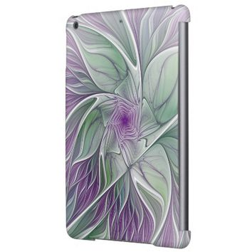 Flower Dream, Abstract Purple Green Fractal Art Case For iPad Air