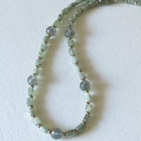 Aquamarine Necklace with Apatite and  Gold Velmeil, Handmade Jewelry,  Statteam