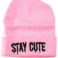 The Stay Cute Logo Beanie in Pink