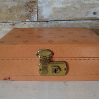 Vintage Jewelry Box Peach an Turquoise  From 50s or 60s