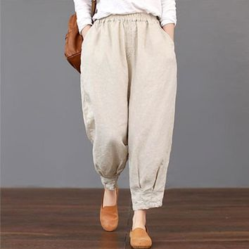 2018 Summer ZANZEA Women Casual High Elastic Waist Pockets Harem Trousers Solid Cotton Linen Loose Cargo Pants Turnip Pantalon