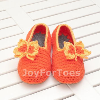 Crochet Slippers Orange Butterfly gift Custom made Gift for her
