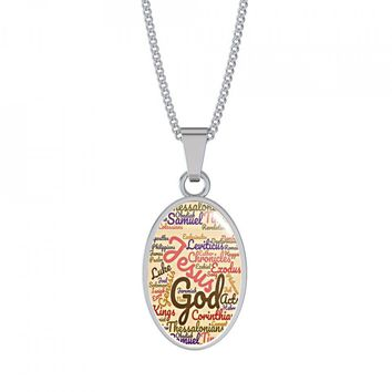 Custom-Made The  Holly Bible Books Oval Shaped Genuine Steel & Shatter-proof Glass Jewelry