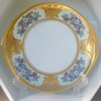 Rosenthal Donatello Selb Bavaria Purple Floral & Gold Motif Handled Plate