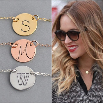 Disc Necklace / Personalized Necklace / Initial Necklace / Silver, Gold, Rose Gold Disc Necklace / Minimal Necklace /Personalized Disc