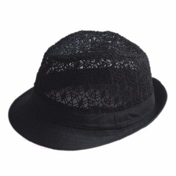 Men Women Fedora Jazz Hat Hollow Top Summer Beach Cap