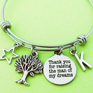 Thank you for raising the man of my dreams, Personalized, Letter, Initial, Star, Tree of life, Silver, Bangle, Bracelet, Thank you, Gift
