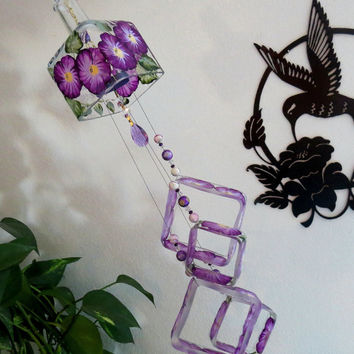 Recycled  bottle wind chime, large Altos bottle, Yard art, Glass bottle wind chime, square glass, Purple flowers