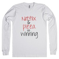 Netflix and Pizza-Unisex White T-Shirt