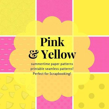 Yellow digital Scrapbooking Paper - printable