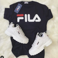 Black FILA TEE T-shirt Top