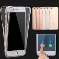 Ultrathin Clear Transparent TPU Silicone Flexible Soft Double Cover Case For Apple iPhone 6 6s / Plus 360 Protect Phone Housing