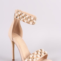 Suede Pearl And Stud Ankle Cuff Stiletto Heel
